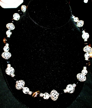 """Spot-On"" Necklace with Lacey Silver Bead"