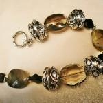 Elegant Smokey Crystal & Silver Bracelet