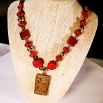 Carved Red Coral & Gold Necklace